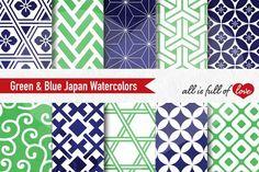 JAPAN Digital Paper Kit LIME GREEN Printable Background Scrapbooking Digital Graphics Japan printable Instant Download