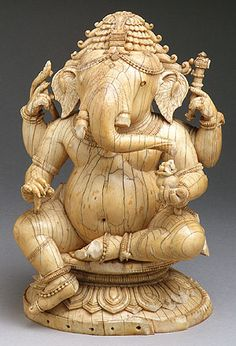 The Hindu god of auspiciousness, Ganesha, is popularly accepted as the first son of Shiva and Parvati. Seated Ganesha Date: century Culture: India (Orissa) Medium: Ivory Sri Ganesh, Ganesha Art, Lord Ganesha, Lord Shiva, Ganesh Statue, Indian Gods, Indian Art, Temple Indien, Art Sculpture
