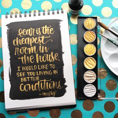 New video at my blog and YouTube showing this gold brush lettering. ~~~~~~~~~~~~~~~ Gold Paint: FineTec Mica Watercolor Palette Black background: Dr. Ph. Martin's Hydrus, Carbon Black Paper: Canson Montval 10x7 watercolor notebook ~~~~~~~~~~~~~~~ #kwdesign365quotes #brushlettering #finetec