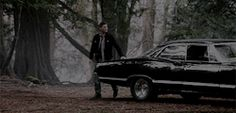 I like the way Dean just pats the impala as he walks by.