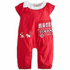 Disney 101 Dalmatians Romper for Baby | Disney Store101 Dalmatians Romper for Baby - A dog tired Patch takes the bus as he and the other pups enjoy a playful time on this 101 Dalmatians Romper for Baby. A large white bow contrasts with the bold red of this cotton outfit that will be a spot on favorite with your little one.