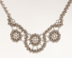 Wedding Necklace - Lace Inspired Chainmaille - Argentium Sterling Silver. $1,050.00, via Etsy.