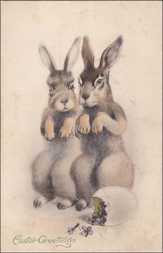 Easter vintage Postcard ,  Brown Bunny Rabbits , EASTERGreetings, Rabbits standing on hind legs, Cracked egg with Violet Flowers by sharonfostervintage on Etsy