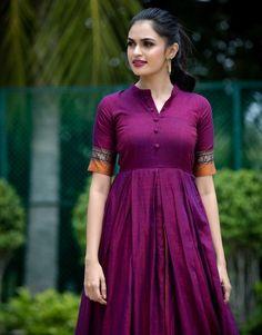 The Anarkali Shop Purple Ananya Fit and Flare Handloom Dress