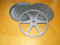 """Vintage Super 8 7"""" 400 ft. light Blue Metal Film Reel + Can #Universal"""