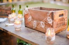 Rustic crate as a wedding card holder - 19 Wedding Gift Card Box Ideas. See more at http://blog.myweddingreceptionideas.com/2016/01/19-wedding-gift-card-box-ideas.html