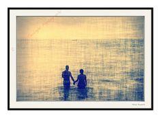 romantic couple love, ocean, sunset, 8 x 12 color print Ocean Sunset, Color Print, Romantic Couples, Feng Shui, Moonlight, Romance, September 10, Wall Art, Walls