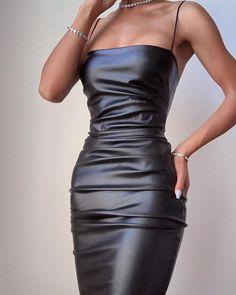 PU Solid Spaghetti Strap Bodycon Ruched Dress woman fashion edgy,woman fashion classy,woman fashion for summer,woman fashion over fashion outfits, Elegant Dresses, Pretty Dresses, Beautiful Dresses, Awesome Dresses, Mode Outfits, Dress Outfits, Fashion Dresses, Fall Outfits, Maxi Dresses