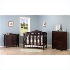 DaVinci Parker 3-PC Convertible Crib Nursery Set w/ Toddler Rail in Coffee