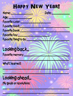 Printable poster for your students to complete for New Year's Eve. Create a Time Capsule using an empty potato chip canister and roll this poster . Fun Classroom Activities, New Years Activities, Sunday Activities, Activity Days, Kindergarten Classroom, Classroom Ideas, Kids New Years Eve, New Years Eve Party, New Year's Crafts