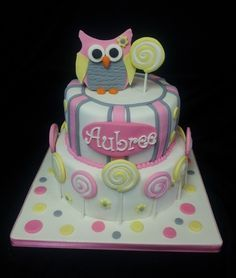 Owl and lollipops birthday cake