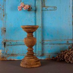 Sfeervolle houten kandelaar, bruin 24 cm