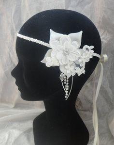 headband ou collier inspiration rétro vintage Great Gatsby  dentelle satin modéle Mariana
