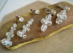 Antique Art Deco, 2 Pair Rock Crystal Bead Drop Dangle Earrings Estate Lot