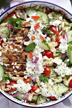 Chicken Orzo, Chicken Rice Bowls, Clean Eating, Healthy Eating, Mediterranean Diet Recipes, Mediterranean Bowls, Salad Recipes, Orzo Recipes, Greek Chicken Recipes