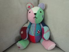 Hand Knit Rainbow Bear, Multi-Color Teddy, Jointed Soft Waldorf Childs Toy, OOAK Home Decoration. $65.00, via Etsy.