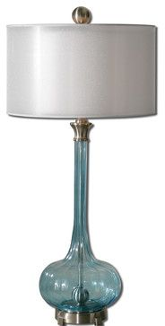 Junelle Blue Glass Table Lamp - traditional - lamp shades - Fratantoni Lifestyles