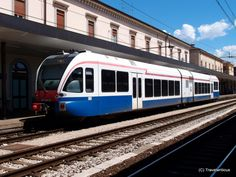 Diesel-electric articulated railcar GTW 2/3 in Udine, Italy