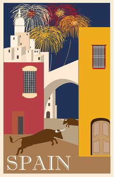 All sizes on SALE Vintage Art Deco Spain Travel Poster ad Giclee Print With Mounted Canvas Options Kunst Poster, Poster Art, Art Deco Posters, Poster Prints, Illustrations Vintage, Illustrations Posters, Photo Vintage, Vintage Ads, Vintage Style