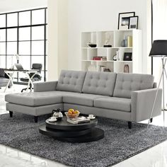 Buy Empress Left Arm Sectional Sofa In Light Gray At Contemporary Furniture  Warehouse For Only $1,134.80