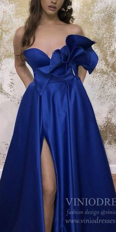 Strapless Royal Blue Satin Prom Dresses with Slit & Pockets – Viniodress Junior Prom Dresses, Pink Prom Dresses, Formal Dresses For Weddings, Lace Bridesmaid Dresses, Cheap Prom Dresses, Formal Evening Dresses, Homecoming Dresses, Evening Gowns, Bridesmaids