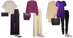 Purple and neutral outfits   40plusstyle.com
