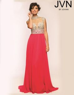 Size 0 Hot Pink JVN Prom JVN20509 Cap Sleeve Gown by Jovani - French Novelty