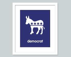 Democrat Art Print - Donkey - 8x10 poster - nursery art - child's room decor. $15.00, via Etsy.