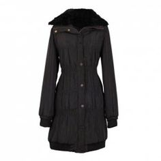 $17.90 Slimming Turndown Collar Ruffle Long Sleeve Quilted Coat For Women