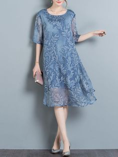 Fashionmia - Fashionmia Hollow Out Printed Half Sleeve Midi Shift Dress - AdoreWe.com
