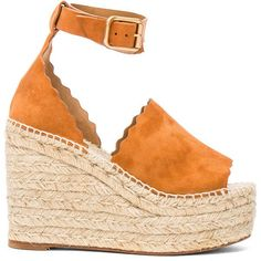 Chloe Lauren Suede Espadrilles (€570) ❤ liked on Polyvore featuring shoes, sandals, heels, wedges, zapatos, wedges shoes, platform sandals, suede platform sandals, platform heel sandals and platform espadrille sandals