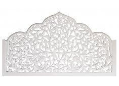 CARVED, ORNATE SHAPED QUEEN WHITE BEDHEAD AN BEAUTIFUL ORNATE SHAPED DELICATELY CARVED WHITE WOODEN BEDHEAD  THIS PIECE IS DESIGNED TO BE MOUNTED BEHIND THE BED TO CREATE THE ULTIMATE BOHO LUXE BEDROOM W. Please Click the image for more information.