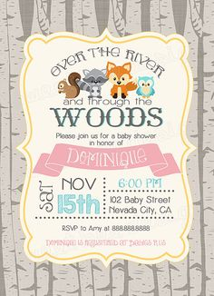 birch tree fox baby shower invitation typography baby shower
