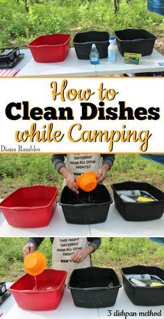 How to Properly Clean Dishes by Hand while Camping - Want to make sure your dishes are clean when camping? Clean dishes using this 3 dishpan cleaning method. This old scout technique won't burn your hands! This works washing dishes at home too. [ad] #CleanMyWay #TeamSponge @scotchbriteUS