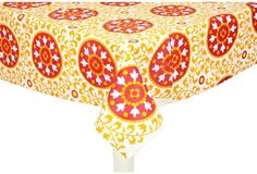 Suzani Tablecloth, Yellow/Red