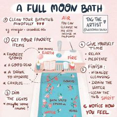 What better way to end a Sunday, than with a full moon bath ritual? Set intentions for the new moon while also getting in a little self… What better way to end a Sunday, than with a full moon bath ritual? Set intentions for the new moon Rituals Set, New Moon Rituals, Full Moon Ritual, Full Moon Spells, Witch Rituals, Wiccan Witch, Magick Spells, Wicca Witchcraft, Green Witchcraft