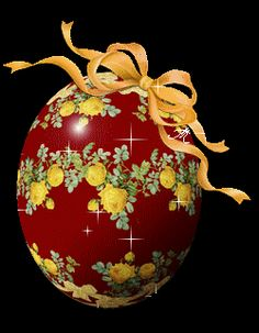"""Photo from album """"Яйца пасхальные"""" on Yandex. Christmas And New Year, Vintage Christmas, Christmas Bulbs, Beautiful Flowers Images, Flower Images, Happy Easter Gif, Gif Fete, Orthodox Easter, Just Magic"""