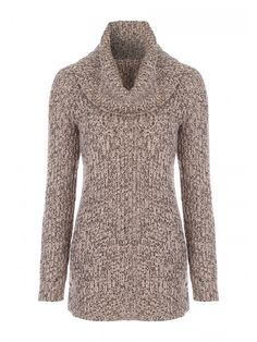 26f779069db16 Update your winter wardrobe with this roll neck tunic. You will be bang on  trend with this longline chunky knit. Perfect for a weekend laid back look.
