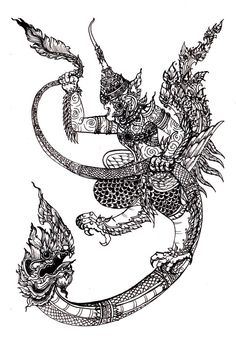 Thai Art- Naga & Garuda.