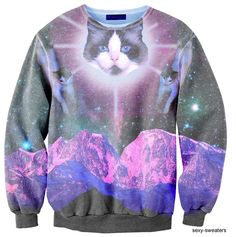 sexy cat sweater- YES YES YES Nelson Sepich, I found you a new cat sweatshirt! Ugly Cat, Galaxy Cat, Ugly Sweater Party, Tacky Sweater, Cat Sweaters, Cat Sweatshirt, Crazy Cat Lady, Sweater Weather, Zine