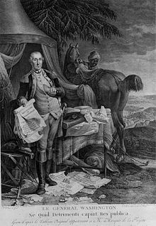 William Lee (valet) - A French engraving, circa 1780, showing General Washington holding the Declaration of Independence. The black man with the horse, though not identified, may represent Lee.