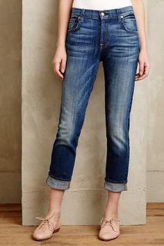 7 For All Mankind Relaxed Skinny Girlfriend Jeans Broken Twilight Denim #anthrofave #anthropologie