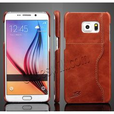 Oil Wax Genuine Leather Case Back Cover for Samsung Galaxy S6 Edge+/Plus with Card Slot  - Brown US$14.29