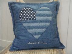Heart, american flag, denim pillow