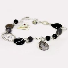 #Collana Lunga Argento con #Agata-Striata, #Agata Grigia e #Ciondolo