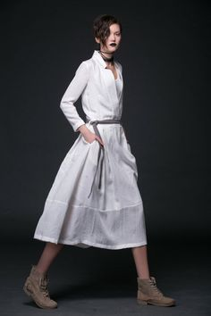 White Linen Dress - Maxi Long Open Neck Long Sleeve with Tiered Skirt & Tie Belt Womens Dress (C515)