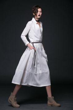 2015 New White linen dress maxi dress women dress by YL1dress