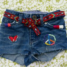 Embroidered jean shorts size 12-18 mons hand stitched
