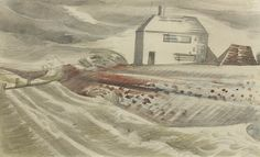 """Dymchurch"" by Paul Nash, 1922 (Pencil, pastel and watercolour)"