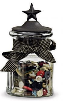 This decorative glass jar with lid is perfect for small collectibles or cotton balls in the bathroom. It is topped by a black metal lid with an ornamental star acting as the handle. Black bow completes this country decor jar. Crafts With Glass Jars, Glass Block Crafts, Glass Jars With Lids, Glass Blocks, Glass Containers, Large Glass Jars, Sewing Room Decor, Sewing Rooms, Primitive Bathrooms